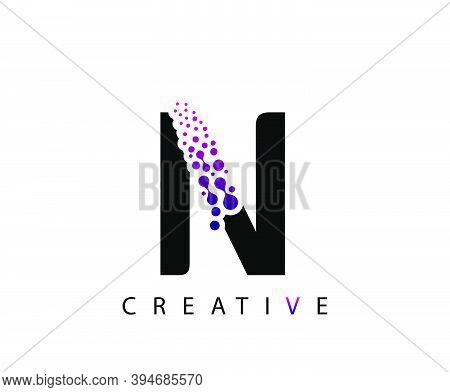 Abstract N Letter , Molecules N Technology Logo Design.