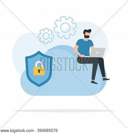 Cloud Security, Encryption And Secure Data Exchange. Safety And Confidential Data Protection, Concep