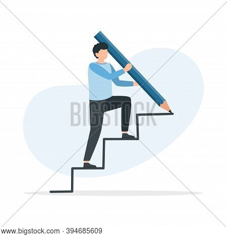 Man Is Climbing Career Ladder. Climbing Up To The Success. Career Growth. Man Walking On Stair And D