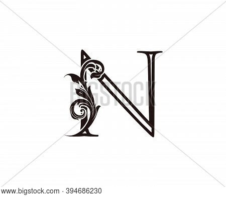 N Letter Luxury Logo. Brown N With Classic Leaves Shape Design Perfect For Fashion, Jewelry, Beauty