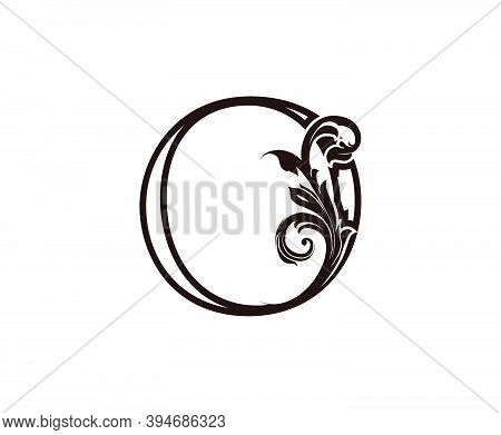 O Letter Luxury Logo. Brown O With Classic Leaves Shape Design Perfect For Fashion, Jewelry, Beauty