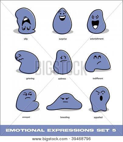 vector emotional expressions set 5