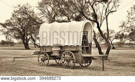 Old Wild West Covered Wagon In Texas With Mesquite Trees In Sepia Black And White.