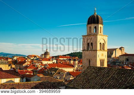 Heart Of The Old Town Of Dubrovnik, Church Belltower On The Main Street Of Stradun, Rising Above The