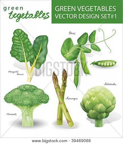 Green vegetables vector design set 1.