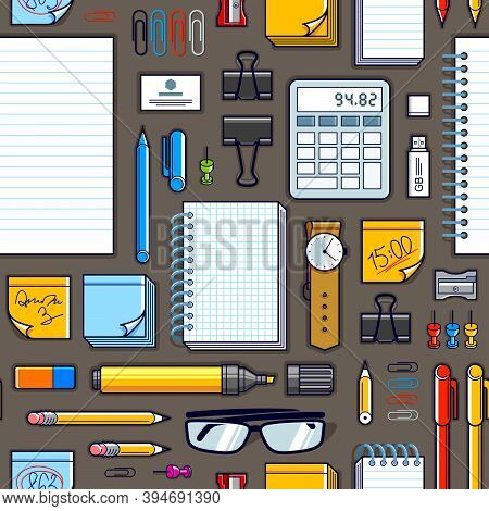 Work Office Desk Top View With A Lot Of Different Stationery Elements Seamless Vector Wallpaper, Bus