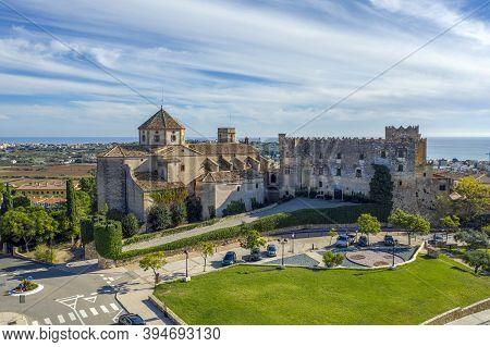 A View Of Sant Marti Church And Altafulla Castle In Altafulla, Catalonia Spain