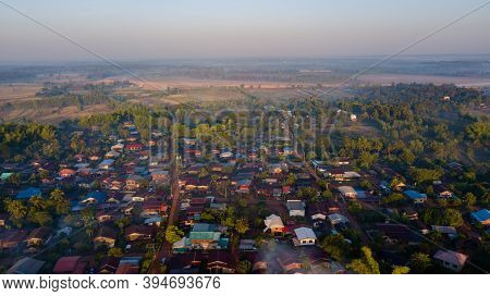 Thailand- The Local Village Isaan Aerial View House Roof From Drone.