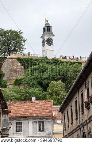Novi Sad, Serbia - July 4, 2018: Clocktower Of The Petrovaradin Fortress In Novi Sad, Serbia. This F