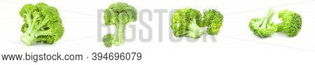 Set Of Fresh Green Broccoli Isolated On A White Cutout