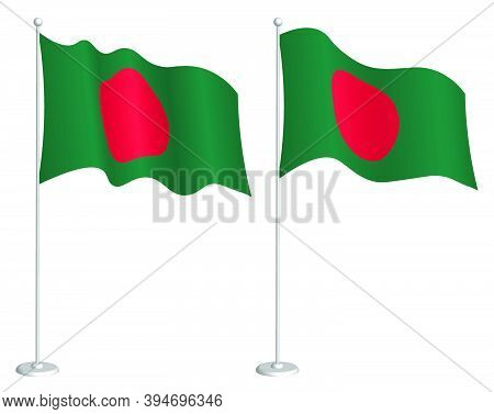 Flag Of Republic Of Bangladesh On Flagpole Waving In Wind. Holiday Design Element. Checkpoint For Ma