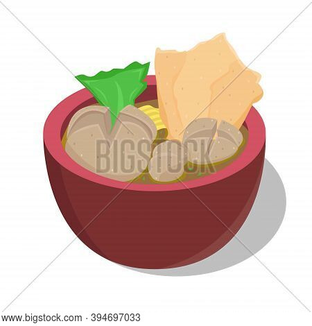 Illustration Vector Design Of Meatball. In Indonesia It Is Known As Bakso. Meatball Or Bakso Usually