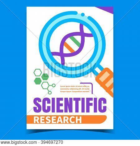 Scientific Research Creative Promo Banner Vector. Laboratory Scientific Magnifying Glass Tool Resear