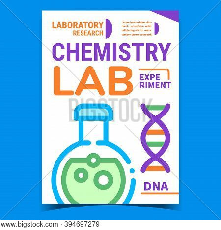 Chemistry Lab Experiment Promotion Poster Vector. Chemistry Research, Laboratory Flask With Chemical