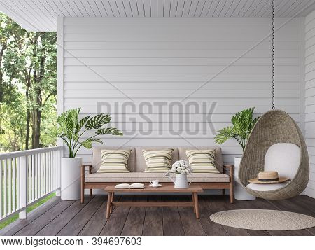 Vintage Terrace With Nature View 3d Render, There Are Old Wooden Floor And White Plank Wall,decorate