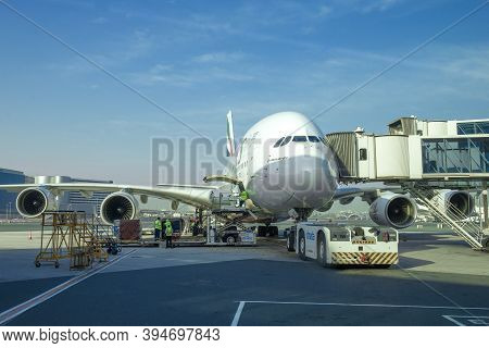 Dubai, Uae - February 02, 2020: Preparation For Departure Of Airbus A380-800 On Dubai International
