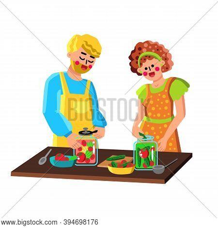 Couple Preserving Vegetables In Bottles Vector Illustration