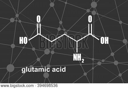 Amino Acid. Glutamic Acid Structural Formula. Lines And Dots Connected Background