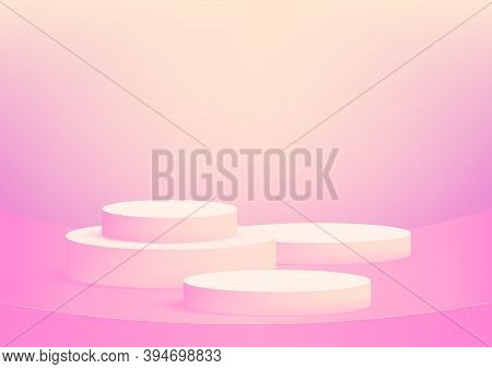 Empty Podium Studio Pink Background For Product Display With Copy Space. Showroom Shoot Render. Bann