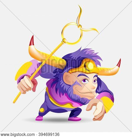 Zodiac Signs - Taurus. Colored Vector Illustration. Taurus Funny Cute Cartoon Character. Isolated On