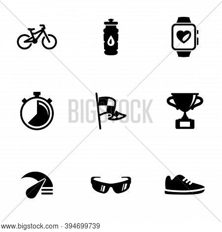 Set Of Black Icons Isolated On White Background, On Theme Cycling