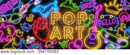 Big Set Of Pop Art Neon Light Sign. Bright Signboard, Light Banner. Vector Illustration Pop Art Icon