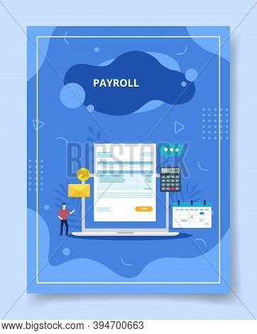 Payroll In Display Laptop Screen Men Standing Nearby For Template Of Banners, Flyer, Books Cover, Ma
