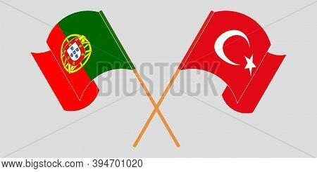 Crossed And Waving Flags Of Turkey And Portugal. Vector Illustration
