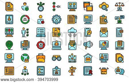 Online Job Search Icons Set. Outline Set Of Online Job Search Vector Icons Thin Line Color Flat On W