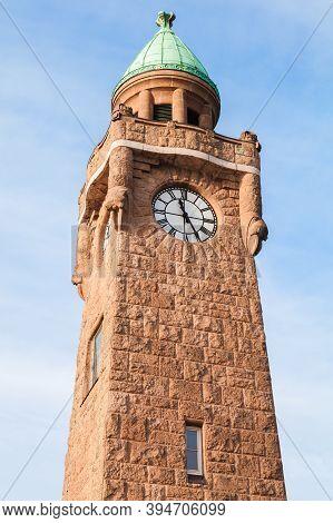 Clocktower At Landungsbruecken. Historical Landmark Of The Port Of Hamburg, Germany