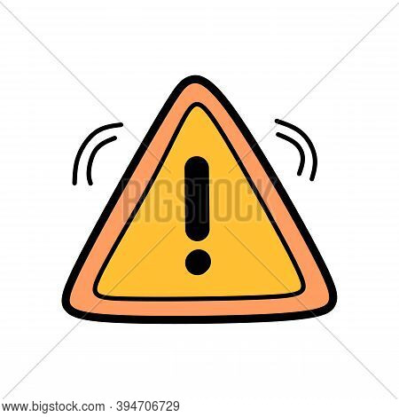 Hand Drawing Caution Icon With Triangle Form. Danger Sign On Isolated Background. Caution Warning Ic