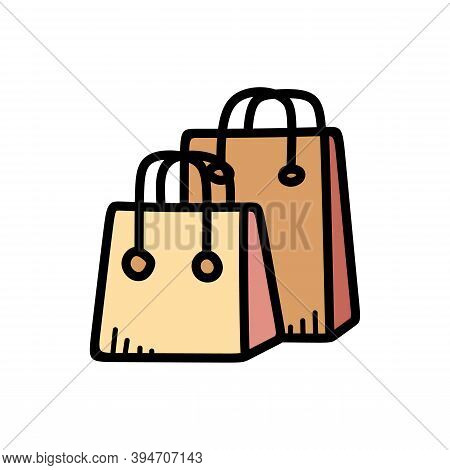 Shopping Bag Illustration For Web Design Isolated On White Background. Simple Shopping Bag Symbol Fo