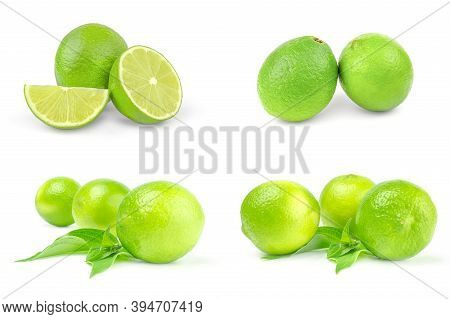 Collage Of Limes Isolated On A White Cutout