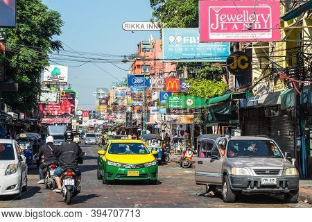 Bangkok, Thailand - December 7, 2019: Famous Moto-taxi Called Tuk-tuk Is A Landmark Of The City And