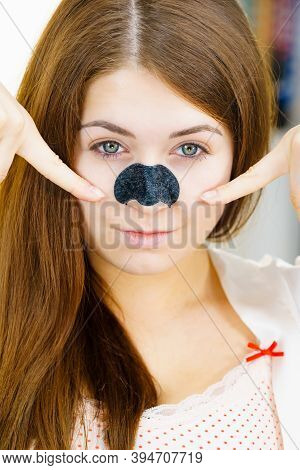 Female With Nose Mask Pore Strips