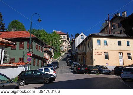 Sarajevo, Bosnia And Herzegovina - 27 Apr 2018: The Street In Sarajevo City, Bosnia And Herzegovina
