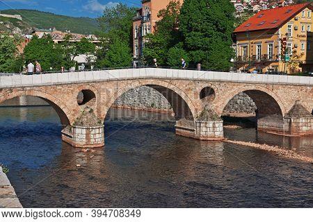 Sarajevo, Bosnia And Herzegovina - 27 Apr 2018: The Bridge In Sarajevo City, Bosnia And Herzegovina