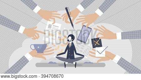 Stress Resilience As Business Leader Confidence And Calm Attitude Tiny Person Concept. Patience And