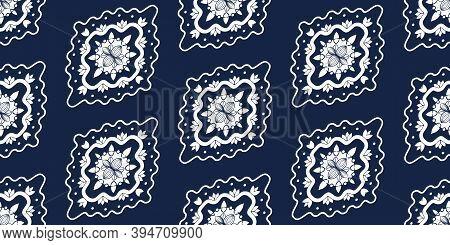 White Ornate On Blue Luxury Background. Damask Style Vector Pattern. Renaissance Surface Design