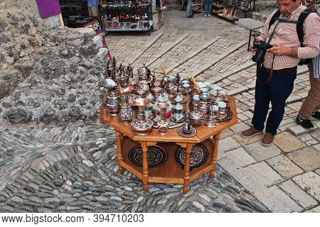 Mostar, Bosnia And Herzegovina - 03 May 2018: Souvenirs In Mostar, Bosnia And Herzegovina