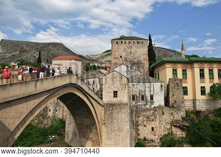 Mostar, Bosnia And Herzegovina - 03 May 2018: Stari Most - The Old Bridge In Mostar, Bosnia And Herz