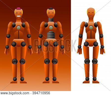 Orange Dummy For Crash Test With Pink Brains & Smile, Mechanical Mannequin, Artificial Intelligence