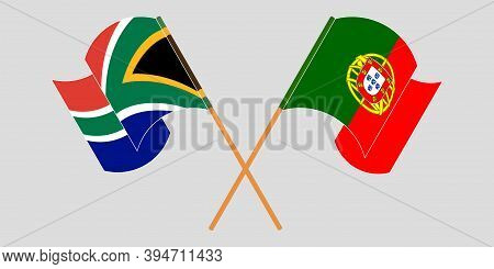 Crossed And Waving Flags Of South Africa And Portugal. Vector Illustration