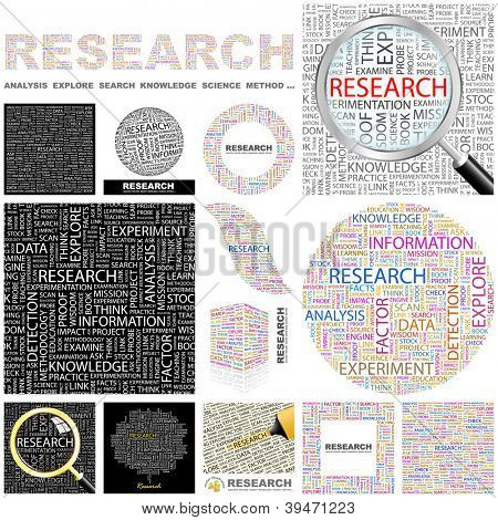 RESEARCH. Word collage. Vector illustration. GREAT COLLECTION.