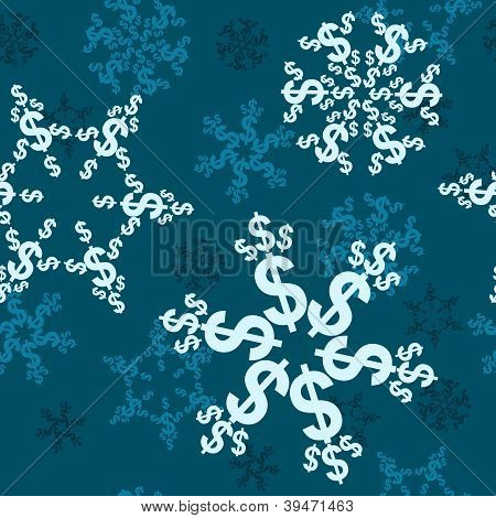 Dollar Sign Snow Background