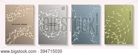 Biotechnology And Neuroscience Vector Covers With Neuron Cells Structure. Intersecting Curve Lines N