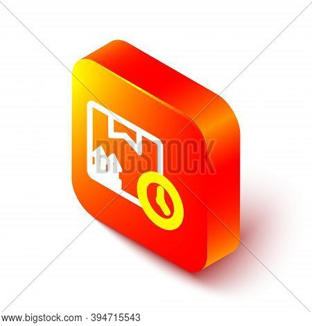 Isometric Line Carton Cardboard Box And Fast Time Delivery Icon Isolated On White Background. Box, P