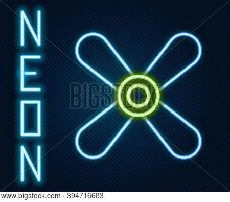 Glowing Neon Line Plane Propeller Icon Isolated On Black Background. Vintage Aircraft Propeller. Col
