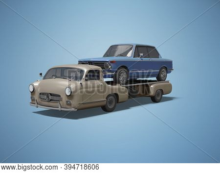 3d Rendering Concept Tow Truck Transporting Blue Car Isolated On Blue Background With Shadow
