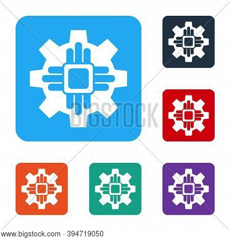 White Processor Icon Isolated On White Background. Cpu, Central Processing Unit, Microchip, Microcir